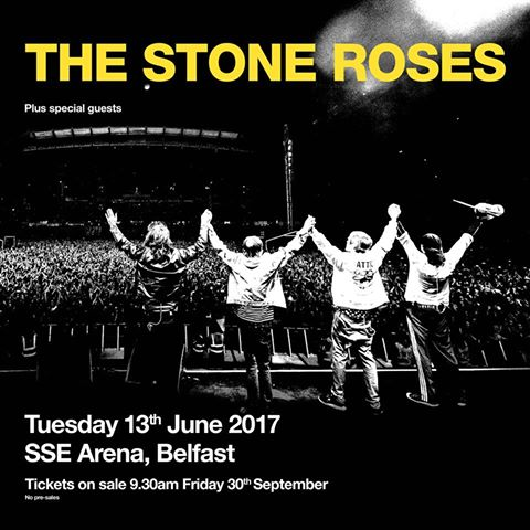 THE STONE ROSES ANNOUNCE 3 UK LIVE SHOWS FOR JUNE 2017
