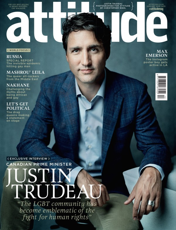 WORLD EXCLUSIVE - JUSTIN TRUDEAU COVERS ATTITUDE MAGAZINE