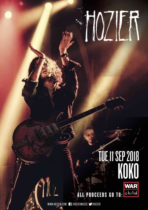 HOZIER WILL PLAY A SPECIAL SHOW AT LONDON'S KOKO ON TUESDAY 11TH SEPTEMBER